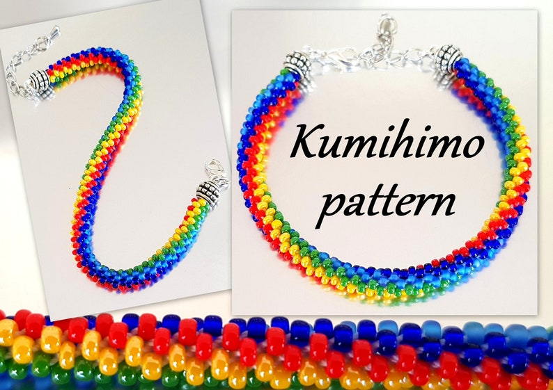 8 Strands Kumihimo Seed Beads Bracelet Tutorial Pattern PDF Loading  Braiding Instruction 5 Stripes Rainbow Colourful Summer Beach Friendship