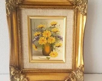 Vintage Small Oil Painting | Still Life Flower Vase | Gold Frame