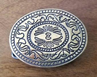 Vintage Solid Brass Belt Buckle Leaves Swirls Oval Shaped