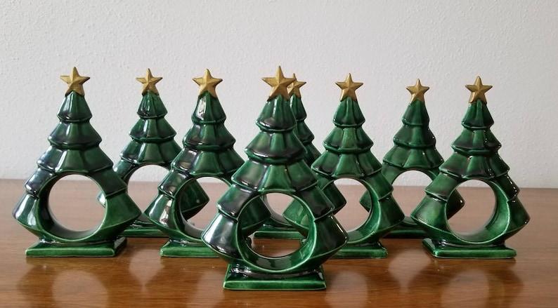Christmas Tree Napkin Rings.Set Of 8 Ceramic Tree Napkin Rings Christmas Tree Rings