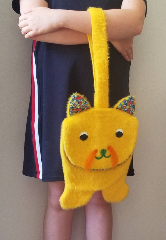 Free Shipping Vintage Cat Purse Handbag Fuzzy Purs