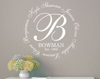 Family Monogram Names Wall Decal LARGE Wall Decal | Family Names Wall Decal | Family Monogram wall decal personalized | Alphabet Garden M243