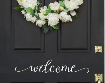 Welcome Door Vinyl Decal, Welcome Front Door Sticker, Welcome Door Decal, Welcome Front Sticker, Vinyl Decal Door, Welcome Door Sticker