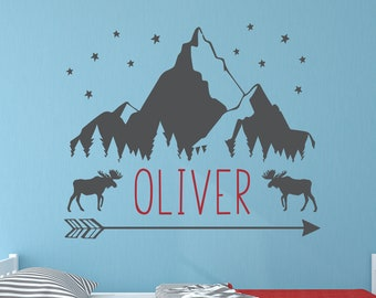 Large woodland mural for nursery and kids room c505 Personalize name Mountain Range Forest and Moose with Name wall decal colors and size