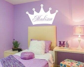 Personalized Princess Crown LARGE Wall Decal | Vinyl Wall Decal PRINCESS  CROWN Decal Teen And Nursery Wall Decor | Princess Decor Child314