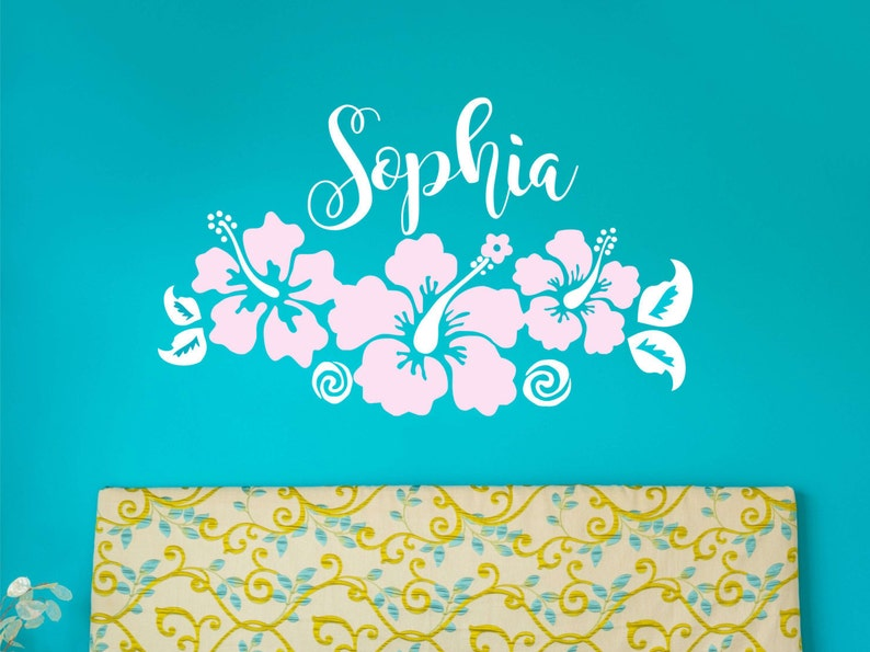 Hawaiian Hibiscus Flowers Name Wall Decal Hibiscus Flowers Etsy