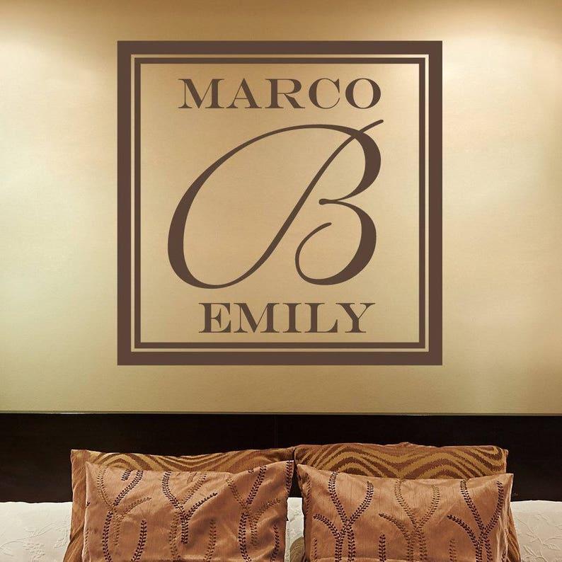 Couples Name Monogram Decal Floor Wedding Monogram Decal Monogram Decal LARGE Wall Decal Custom Wall Decal Couple Wall Decal
