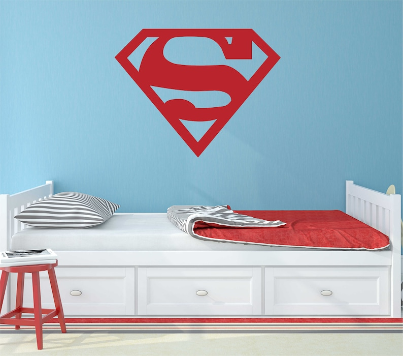 Sticker Mural Superman Vinyle Mural Sticker Superman Marvel Etsy