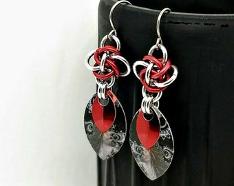 Earrings - Volcanic Eruption - Persephone Diamonds - Decoupage Scales - Red Earrings - Lightweight - Chainmaille