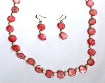Shell Coin and Bead Necklace and Earrings