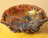 Vintage Imperial Glass Carnival Glass Footed Bowl