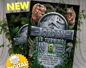Dinosaur Birthday Invitation Jurassic World Invite Party Dino Printable Park