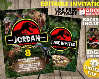 Dinosaur Birthday Invitation Instant Download Jurassic Park Invite Party World