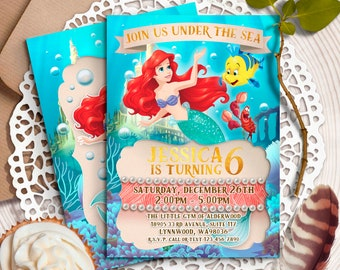 Little Mermaid Invitation Disney Ariel Invite Birthday Invitations Princess Printables