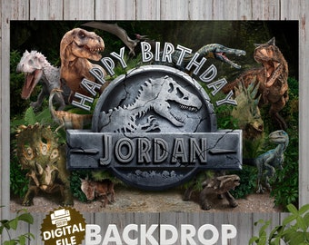 Dinosaur Birthday Backdrop Jurassic World Banner Photo Prop Sign Party Dino Printable