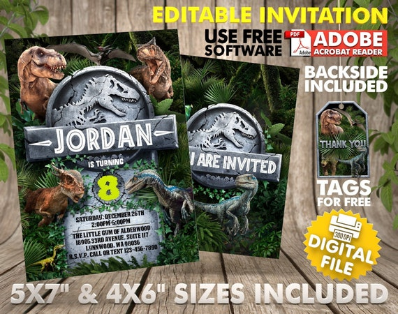 Dinosaur Birthday Invitation Instant Download Jurassic World