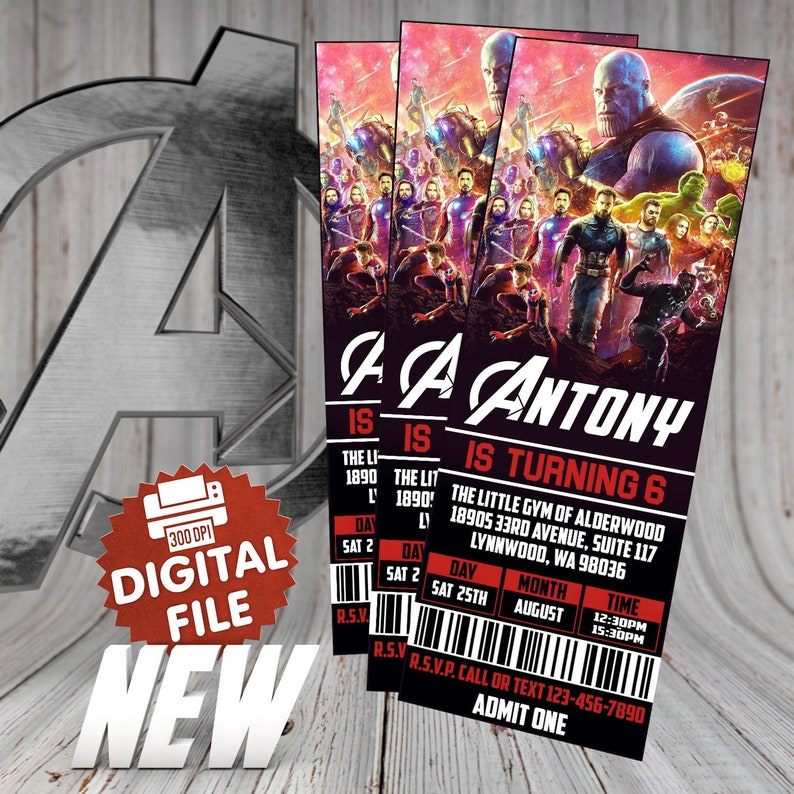 Avengers ticket birthday Invitation, Avengers Birthday, Avengers Birthday  Party, Superhero invitation, Avengers, Avengers Infinity War