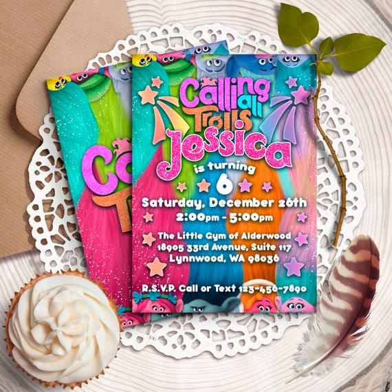 trolls birthday invitations trolls digital invitation trolls etsy
