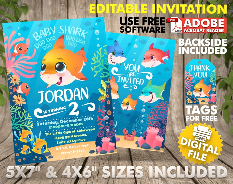 Personalized Baby Shark Birthday Invitation Instant Download Invi