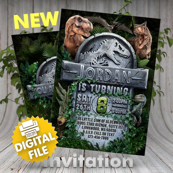 Dinosaur Birthday Invitation Jurassic World Invite