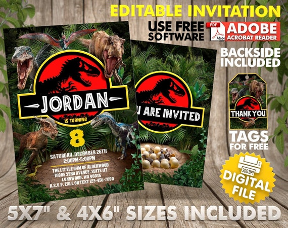 Dinosaur Birthday Invitation Instant Download Jurassic Park