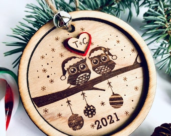 Personalized Christmas ornament, owl ornament, engraved Christmas ornament, tree decoration, love, Christmas tree decoration, gift, wedding