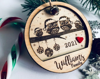 Personalized Christmas ornament, owl family decoration, family, engraved Christmas ornament, tree decoration,, christmas tree, gift, wedding