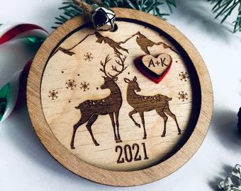 Deer Christmas Ornament, engraved ornament, Personalized gift, personalized ornament, Wedding gift, Love, wood, 3D, Layered, Heart, Cute