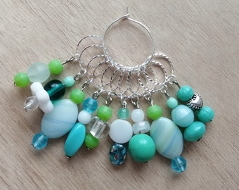 10 pc glass stitchmarker set for knitting // handmade // silver and turquoise