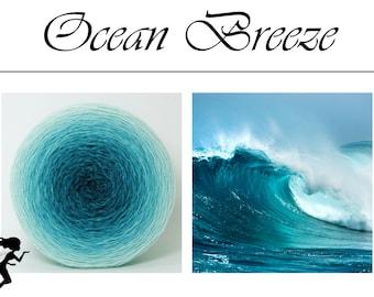 Ocean Breeze* gradient yarn, hand dyed, fingering weight - Merino Nylon