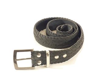 mens belt - cool belt for cyclists - bicycle belt - bicycle tire upcycling - vegan belt for - black belt