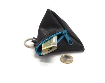 small pouch key chain - black key pendant - coin purse - small zipper pouch - change pouch