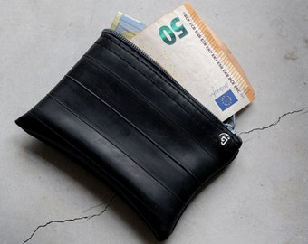 zipper pouch – black zippered pouch - upcycled pouch - small vegan pouch - credit card holder - upcycled pouch - inner tube upcycling