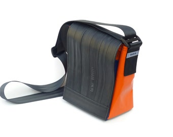 Bag made from bicycle inner tube – small shoulder bag out of truck tarp, bicycle inner tube and seat belt (recycled bag, bike tube bag)