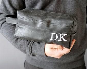 personalized dopp kit - personalized gift for men - monogramed dopp kit handmade of bicycle inner tubes