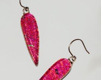 Dichroic Glass Drop Earrings, Pink Dichroic Jewelry, Pink Earrings, Fused Glass Dangle Earrings, Iridescent Glass Drop Earrings