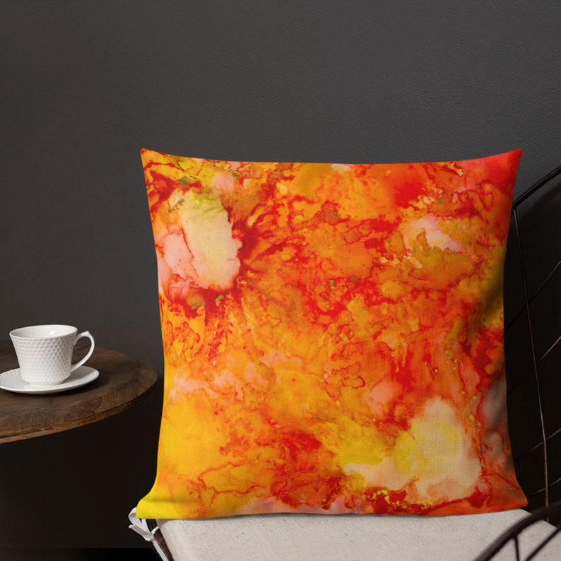 Red Throw Pillow Yellow Toss Pillow Watercolor Pillow Cover image 0
