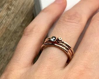 Minimalist engagement ring trio, engagement stacking set, alternative engagement rings, ethical engagement rings,rose gold london blue topaz
