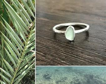 sea glass engagement ring, alternative engagement ring, ethical stone engagement ring, white gold seaglass ring, Cornish seaglass, unique