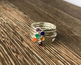 Rainbow stacking rings, NHS rainbow ring, gemstone stacking ring, rainbow stack ring set, gemstone stacker ring set, colourful gemstone ring