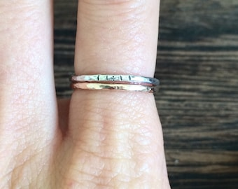 11:11, Law of attraction handmade beaten silver ring, angel numbers, wish ring, 1111, positive affirmation, guardian angel, numerology