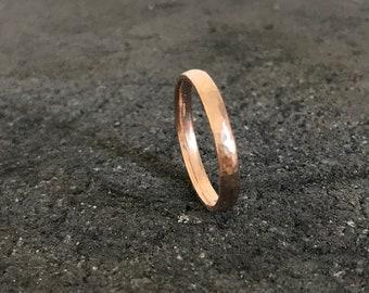 Mens rose gold wedding band, textured men's wedding ring, organic mens ring, rustic mens rose gold wedding band, rugged men's wedding ring