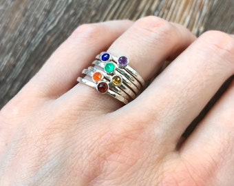 Rainbow engagement ring, Rainbow stacking rings, LGBTQ+ engagement ring, alternative engagement ring, promise ring, non binary engagement,