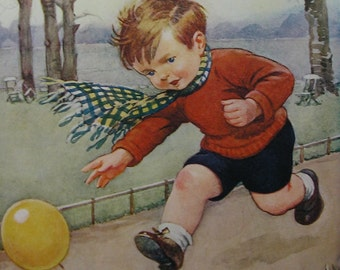 Boy chasing his Balloon in the Wind by Inez Topham a 1928 Vintage Children's Print - The Chase - Boys Room Decor - Matted  - Ready to Frame
