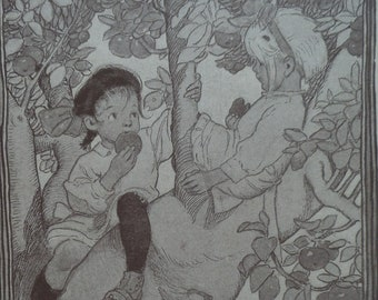Antique Children's Print by Fanny Cory - Pleasures of Childhood - The World Forgotten -Children on Tree Apple Eating -Matted -Ready to Frame