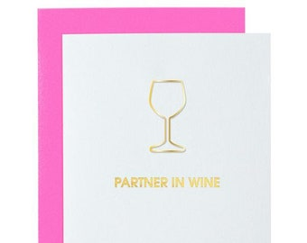 Funny. Partner in Wine Paper Clip Card. Letterpress Card