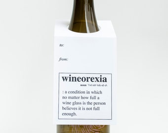 Wine Lover Gift. Funny. Wineorexia Wine Letterpress Tag- Set of Three