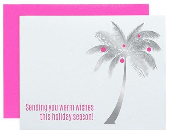 Warm Wishes Holiday Season Palm Tree Foil Letterpress Card