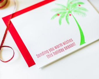 Warm Wishes Holiday Season Palm Tree Letterpress Card - DISCOUNT PRICE!!