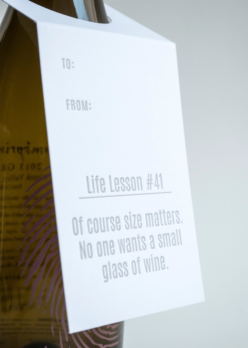 Wine Letterpress Tags Size Matters Funny Wine Tag Life Lesson #41 Set of Three